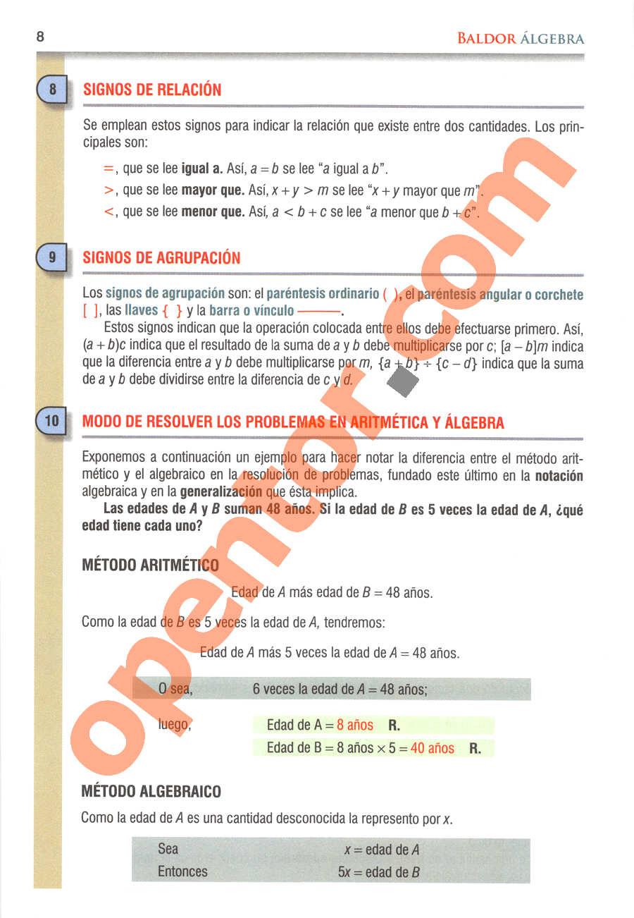 Álgebra de Baldor - Página 8