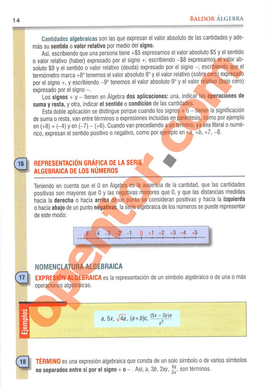 Álgebra de Baldor - Página 14