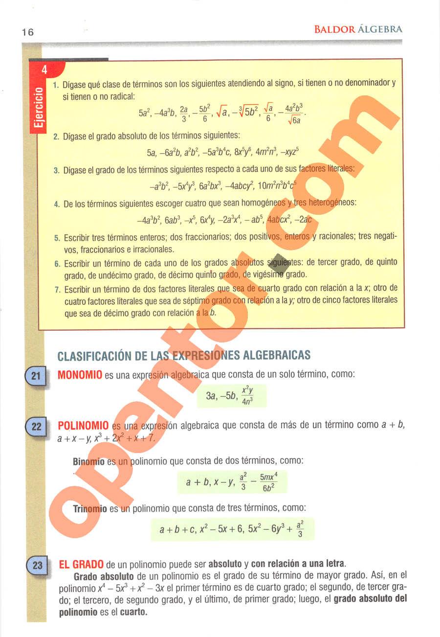 Álgebra de Baldor - Página 16