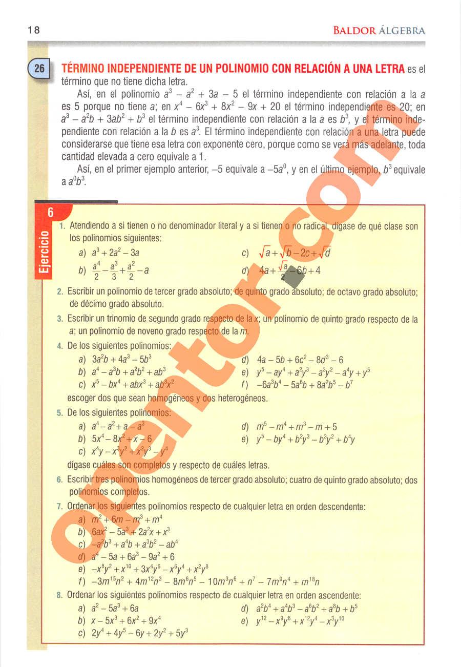 Álgebra de Baldor - Página 18