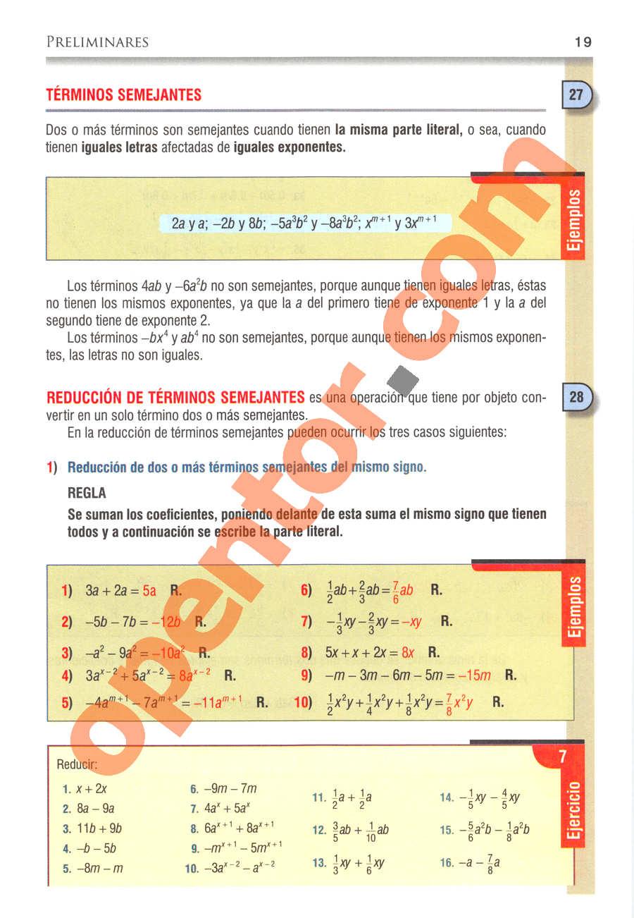 Álgebra de Baldor - Página 19