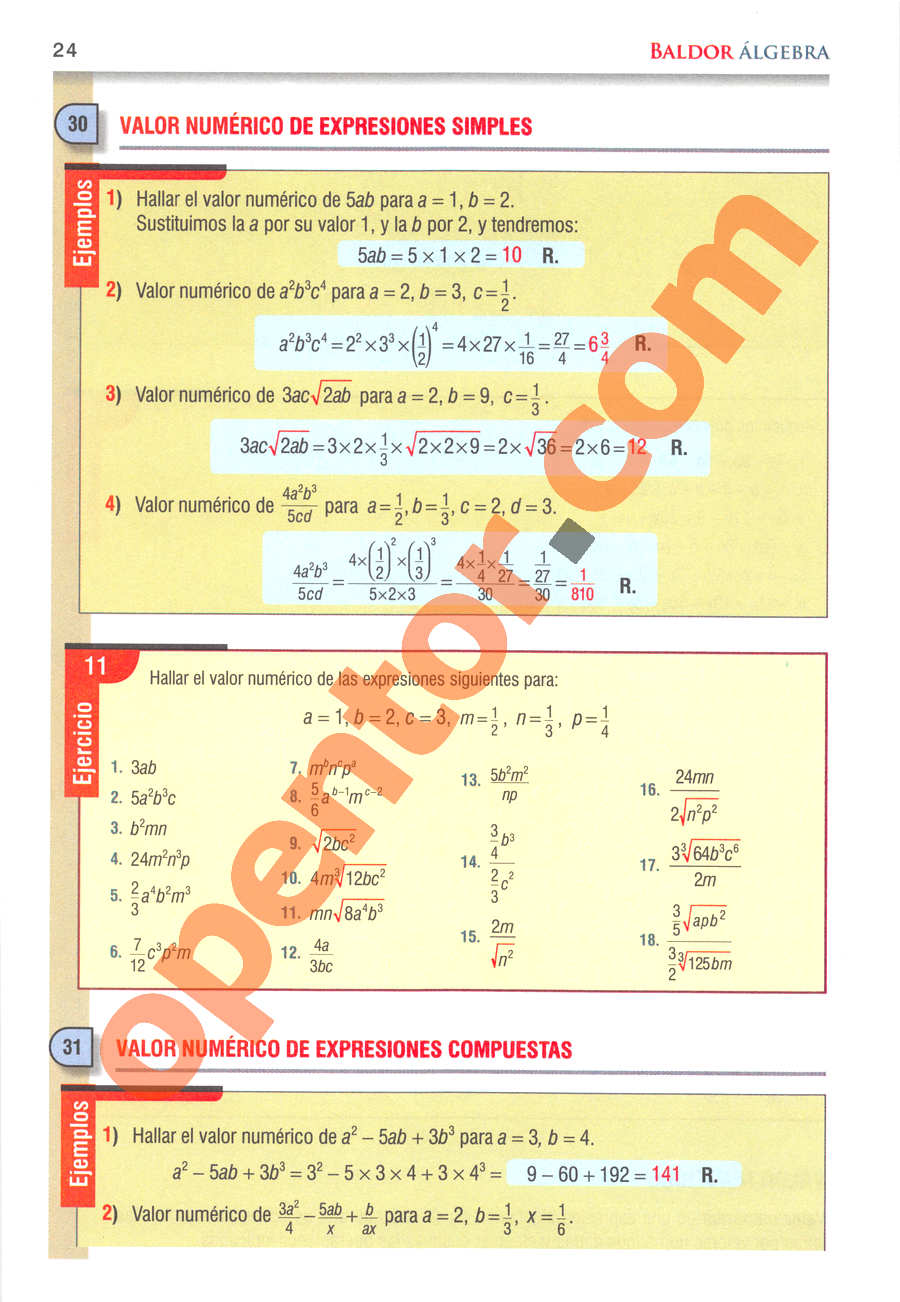 Álgebra de Baldor - Página 24