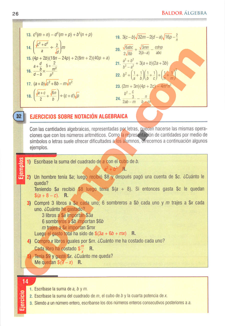 Álgebra de Baldor - Página 26