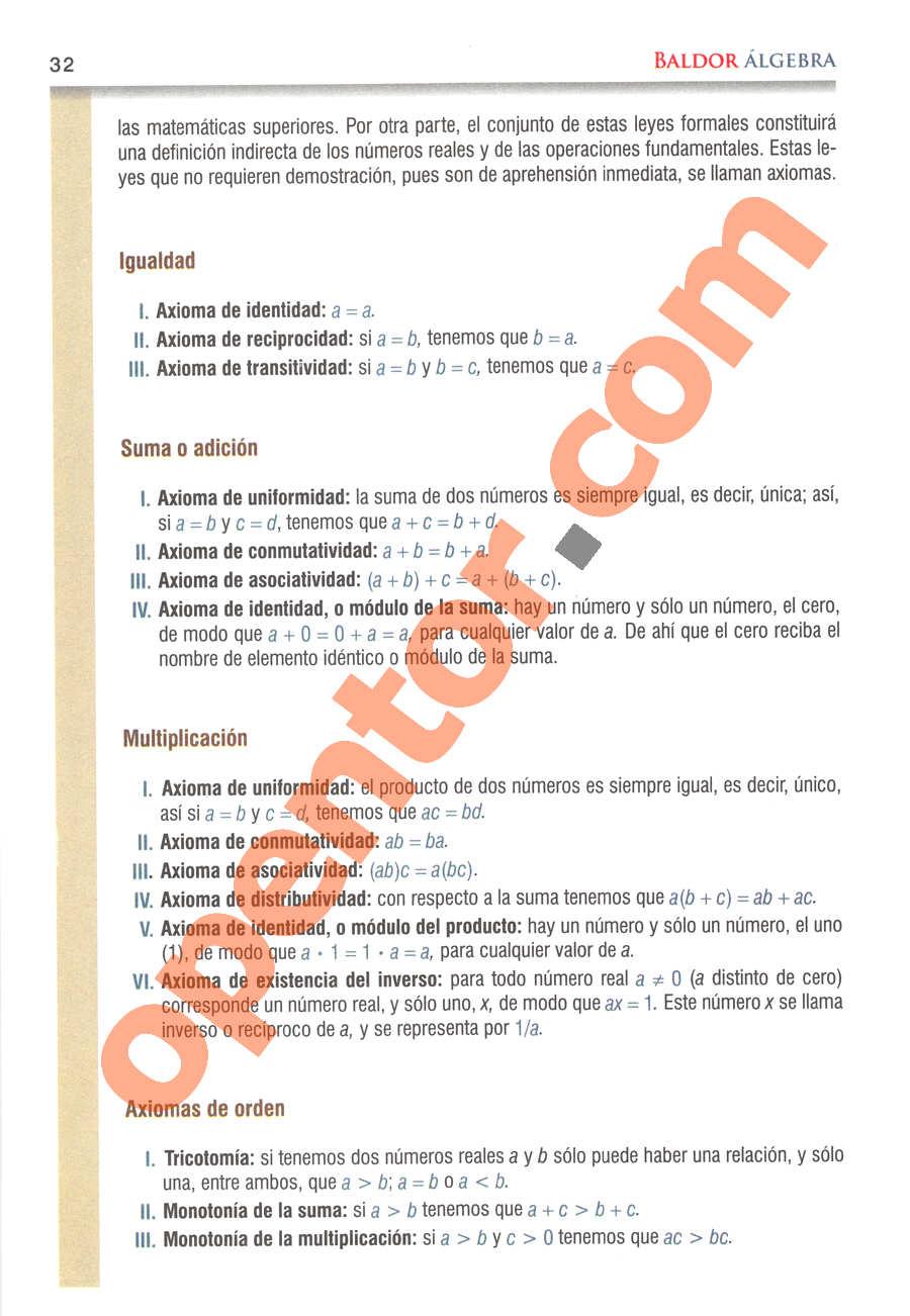 Álgebra de Baldor - Página 32