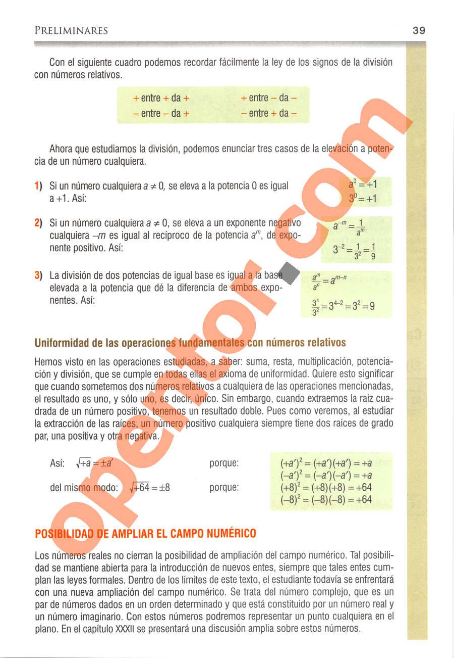 Álgebra de Baldor - Página 39