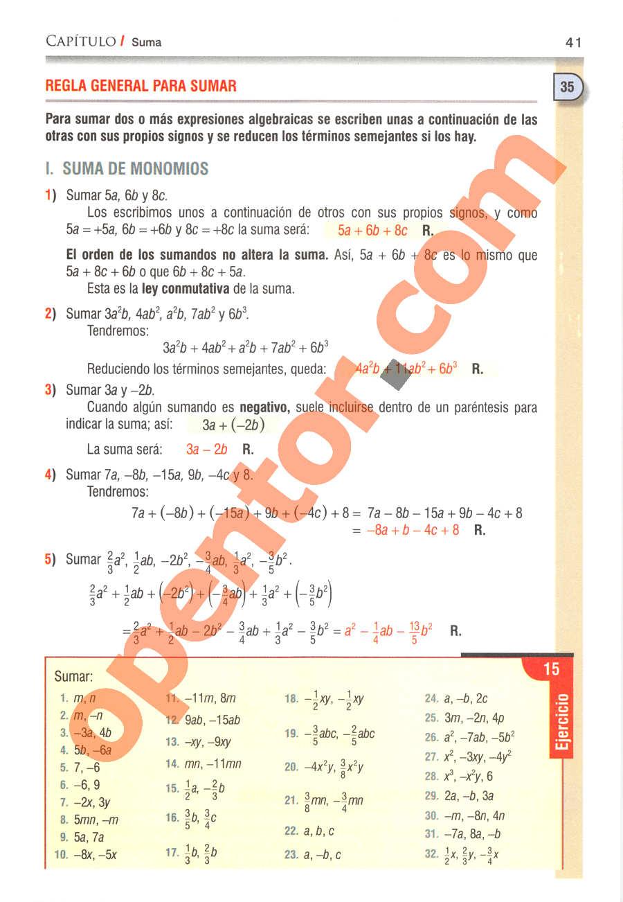 Álgebra de Baldor - Página 41