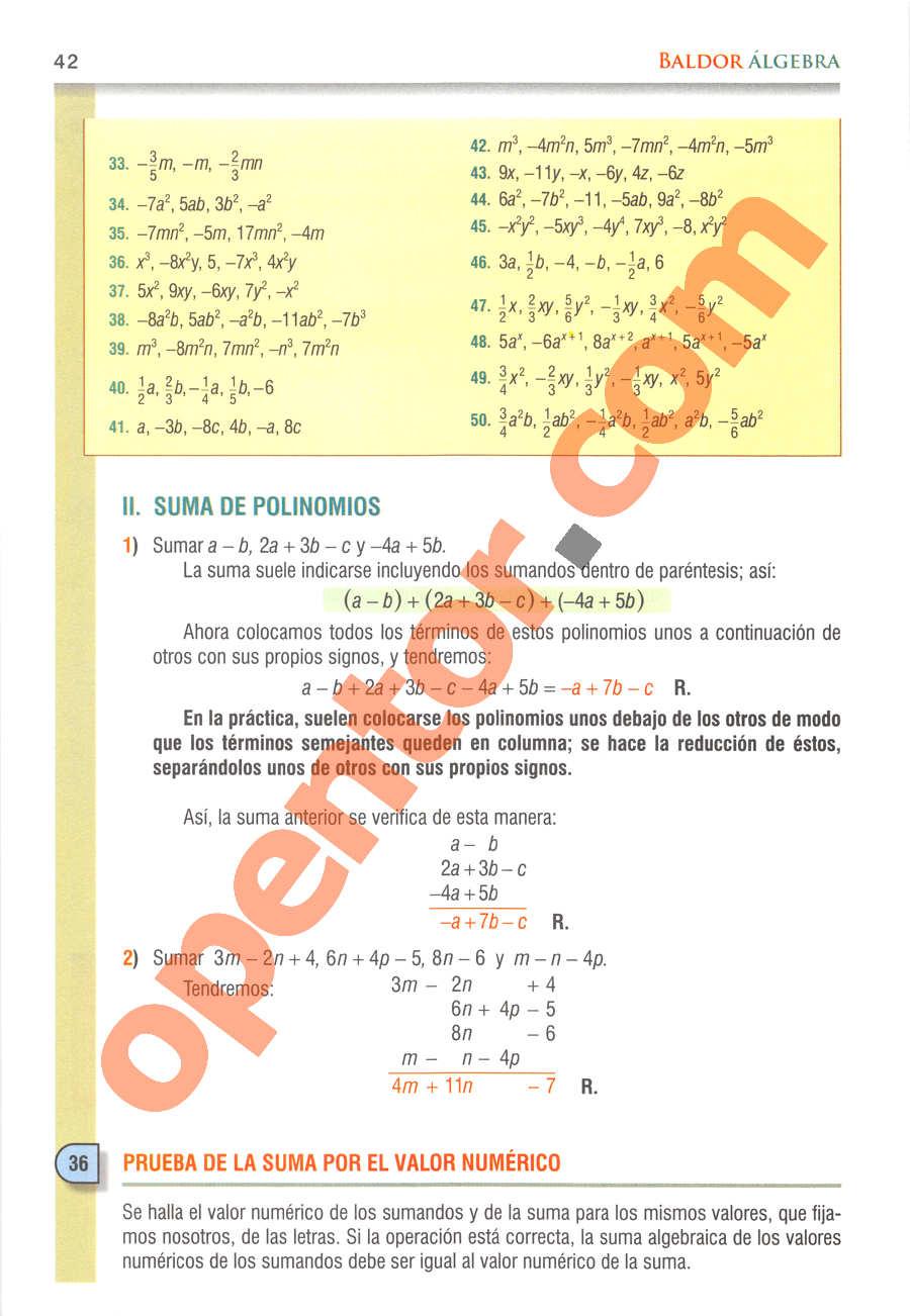 Álgebra de Baldor - Página 42