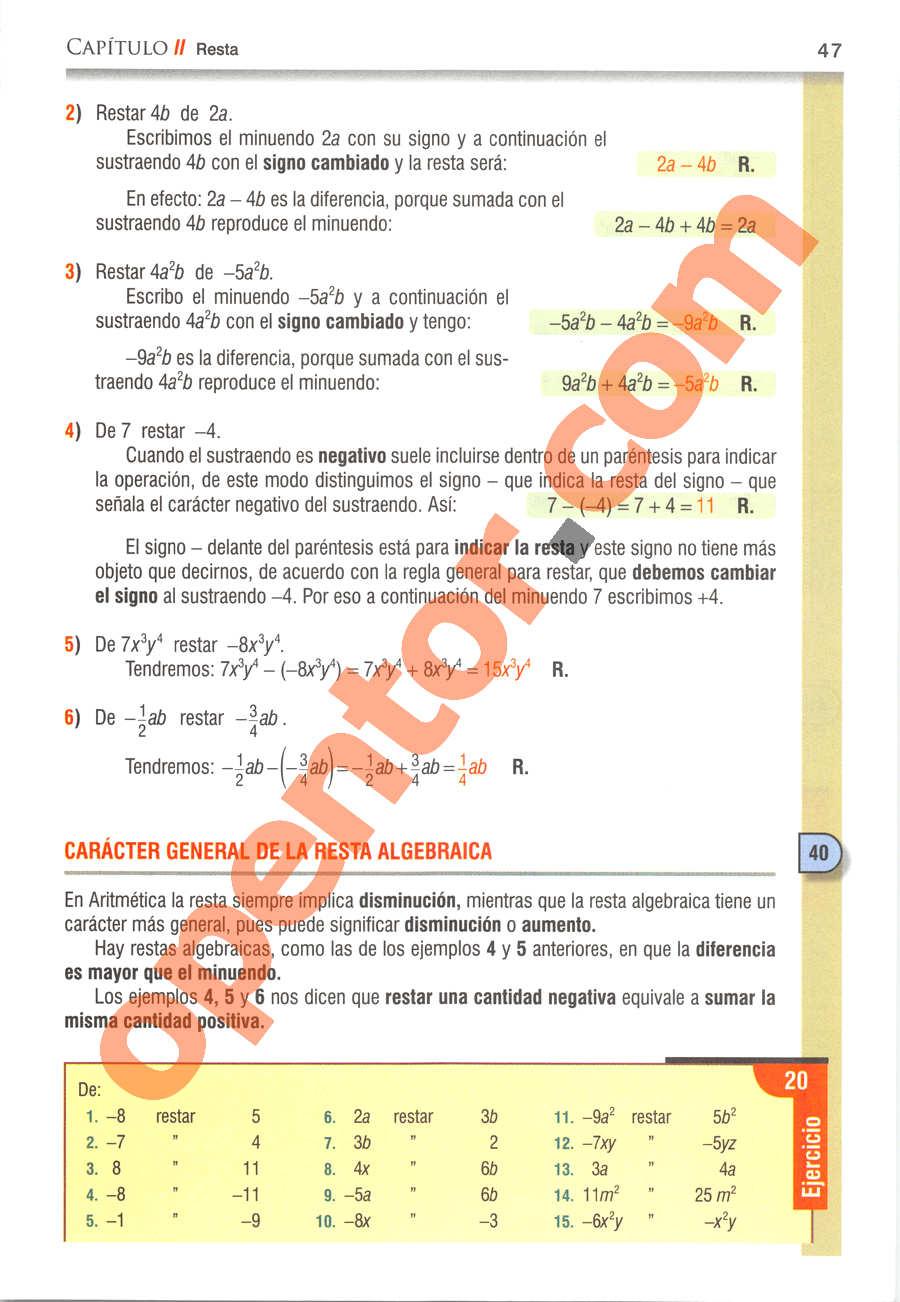 Álgebra de Baldor - Página 47