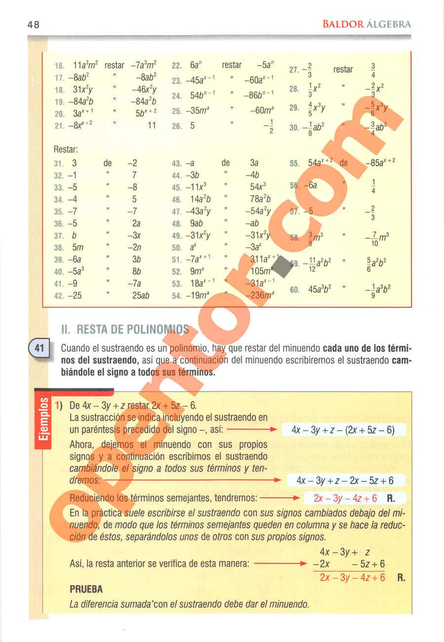 Álgebra de Baldor - Página 48