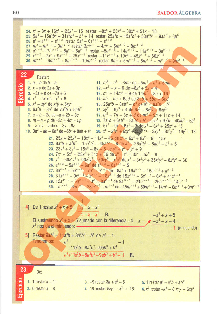 Álgebra de Baldor - Página 50