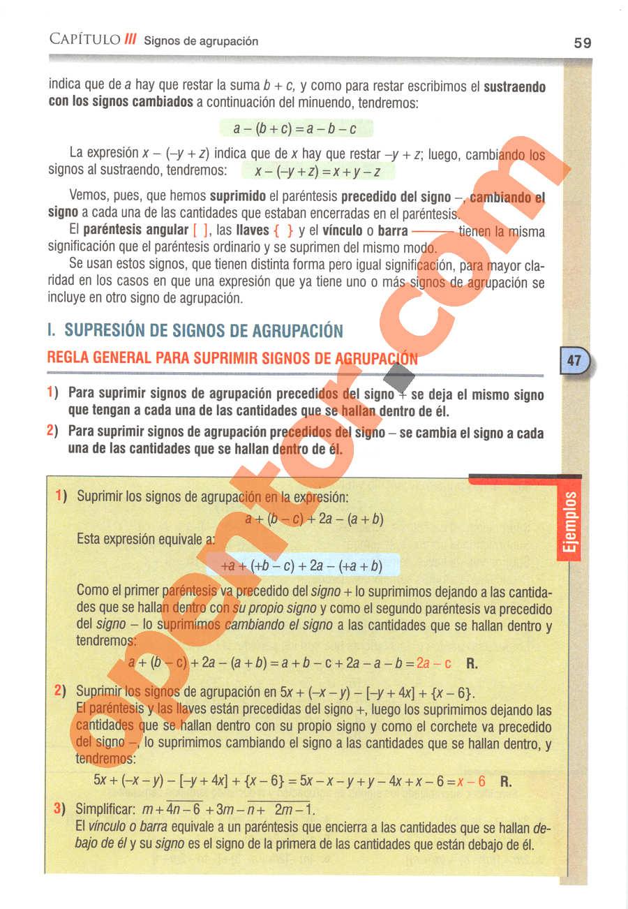 Álgebra de Baldor - Página 59