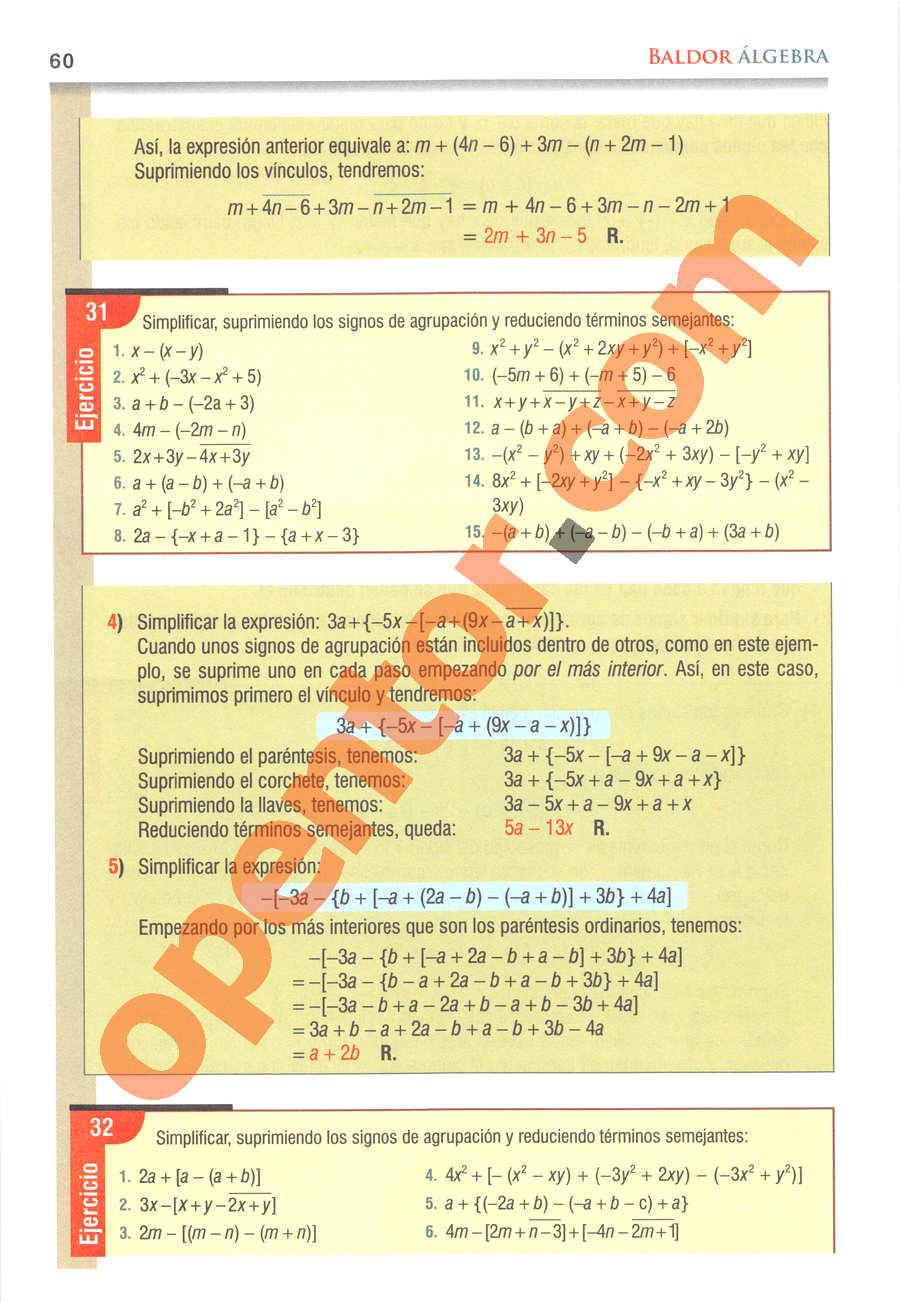 Álgebra de Baldor - Página 60