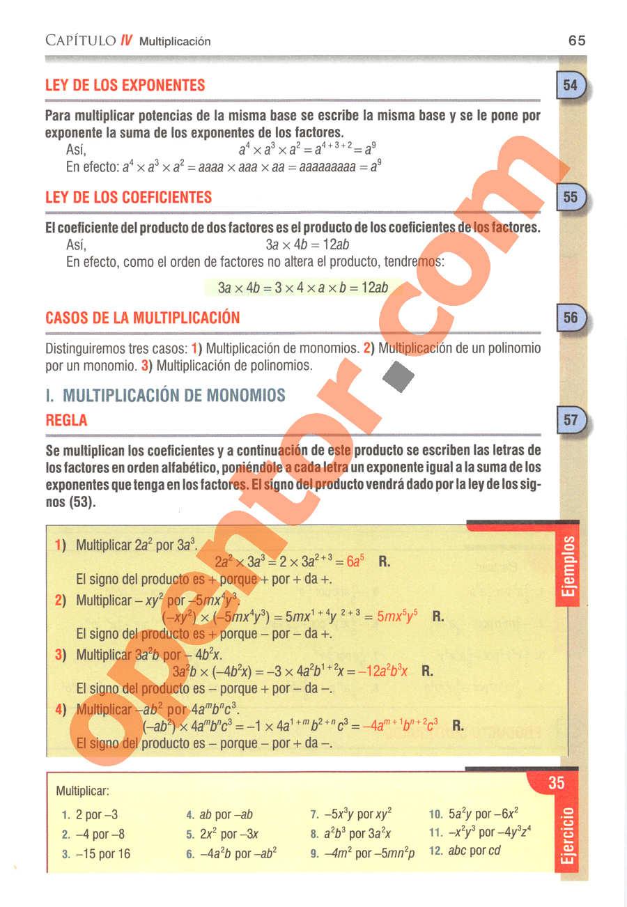 Álgebra de Baldor - Página 65