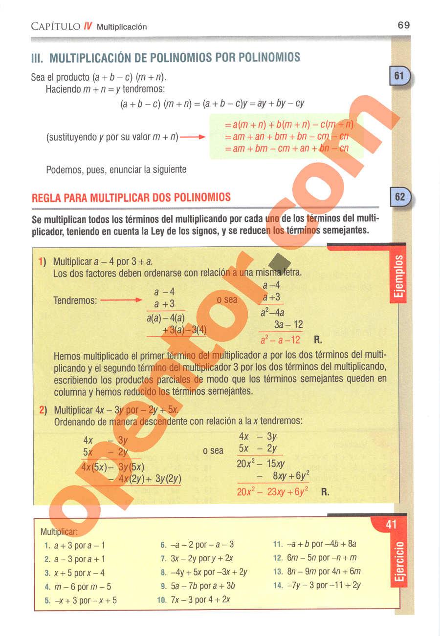 Álgebra de Baldor - Página 69