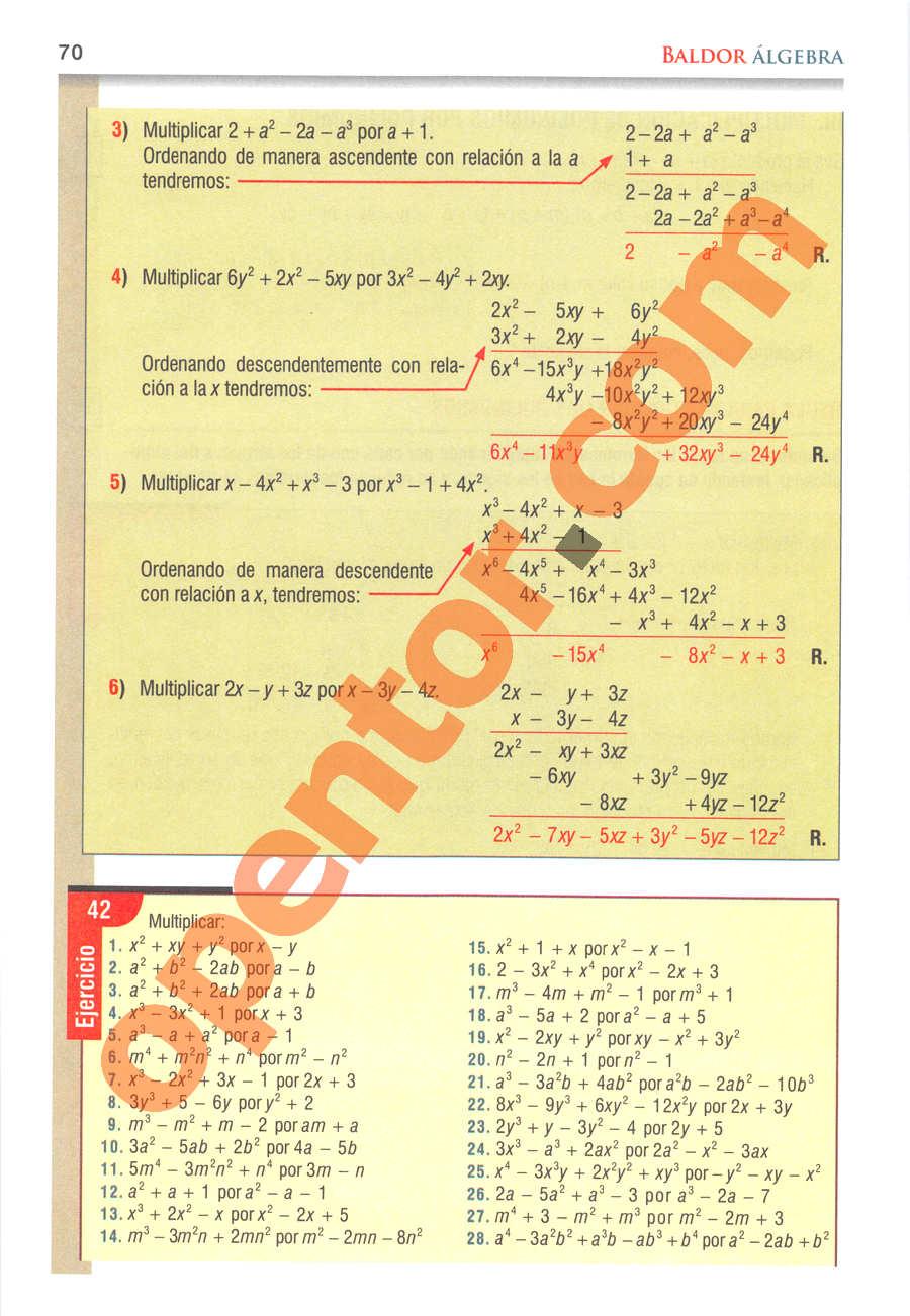 Álgebra de Baldor - Página 70