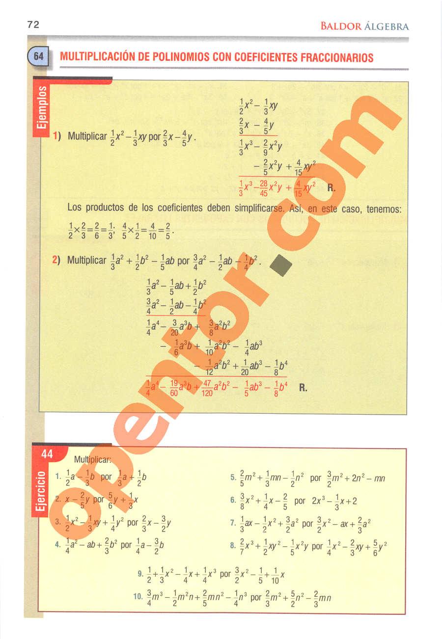Álgebra de Baldor - Página 72