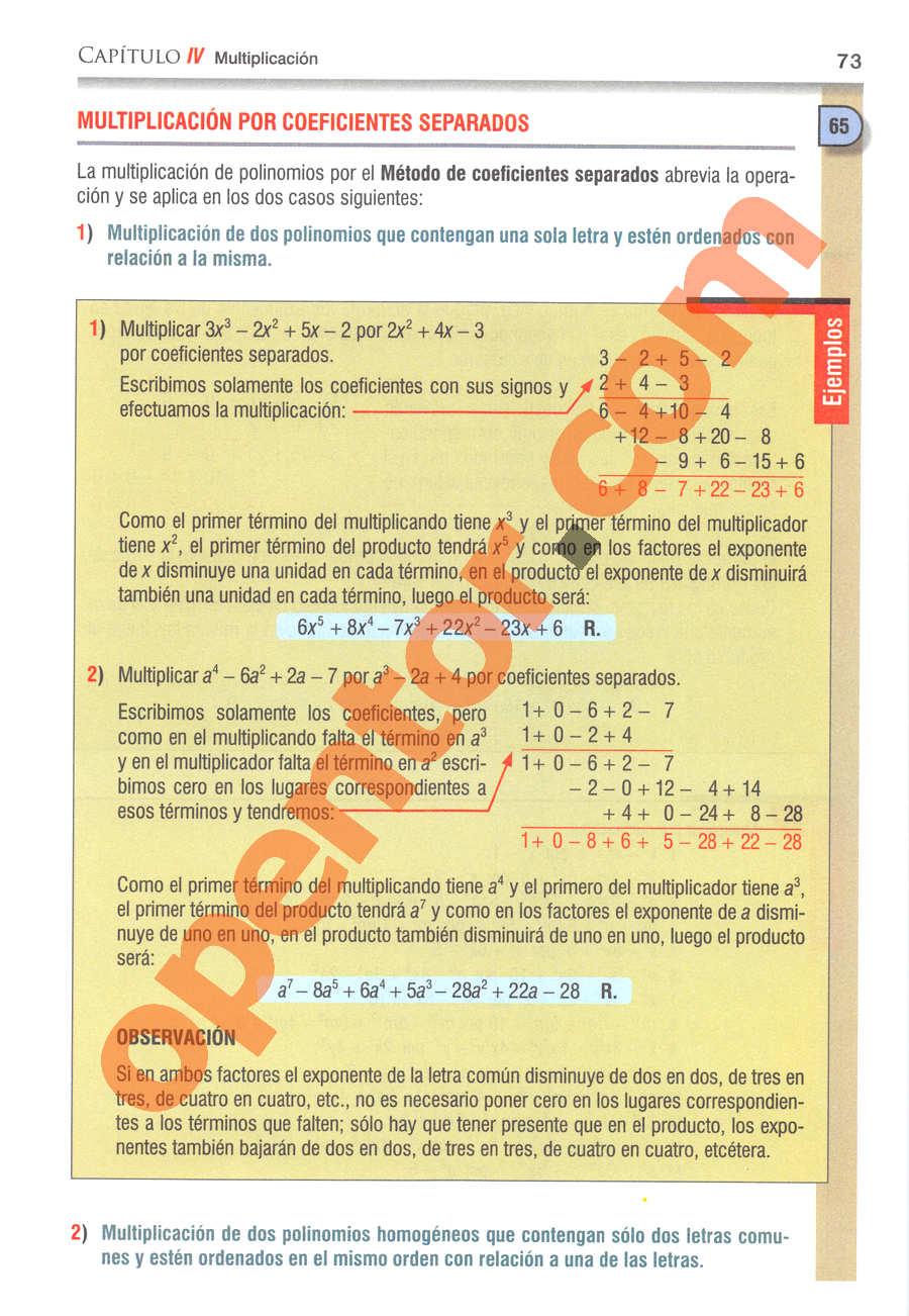 Álgebra de Baldor - Página 73