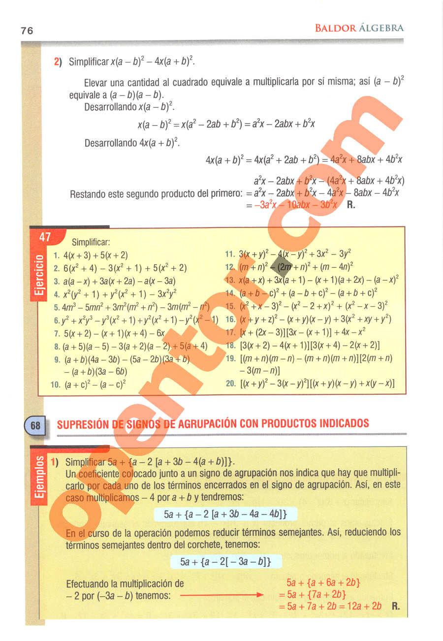 Álgebra de Baldor - Página 76