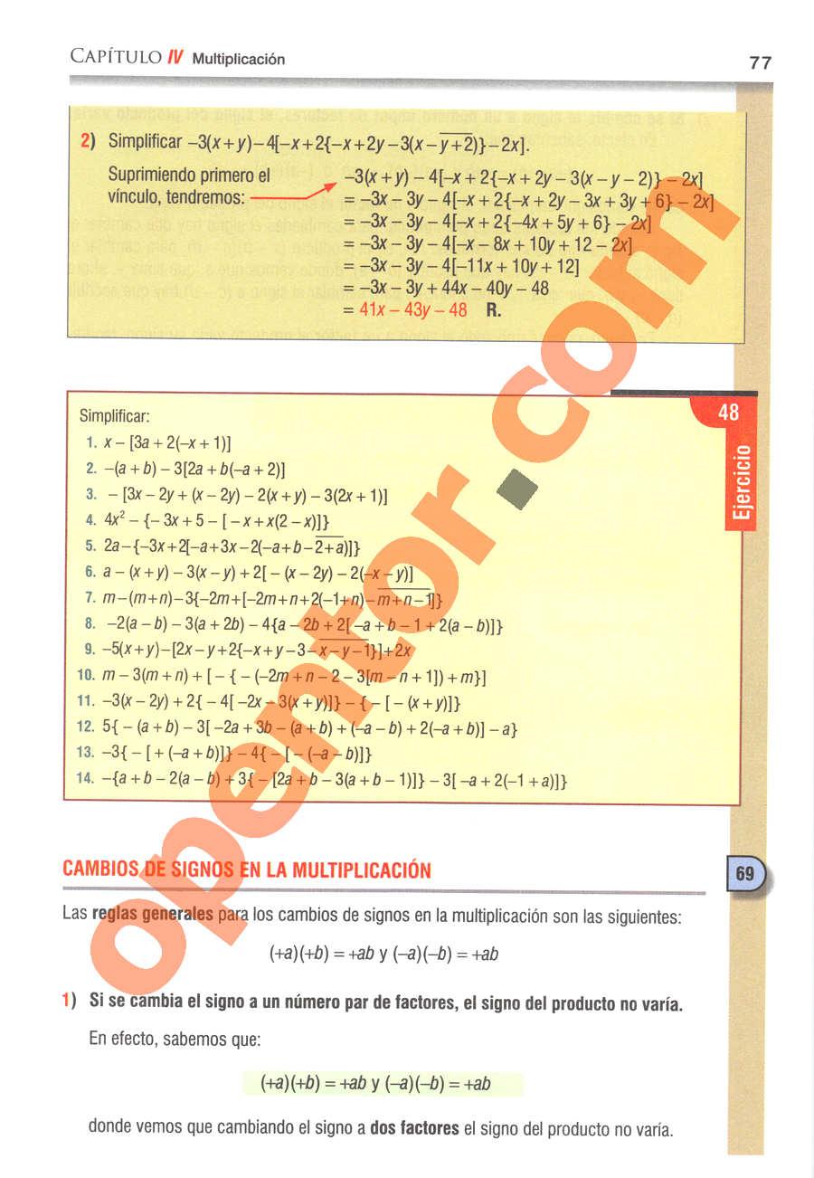 Álgebra de Baldor - Página 77