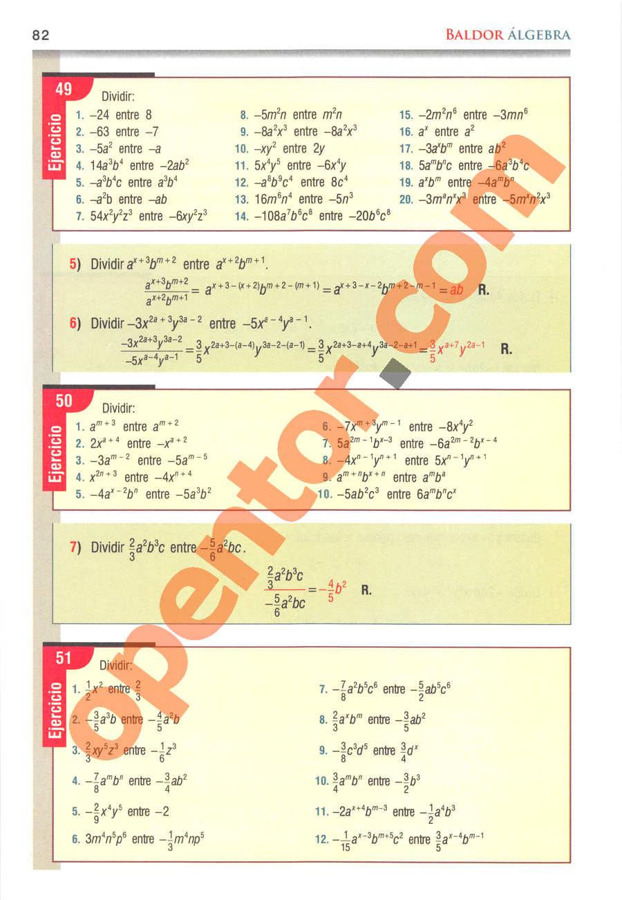 Álgebra de Baldor - Página 82