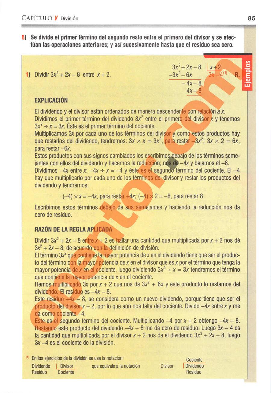 Álgebra de Baldor - Página 85