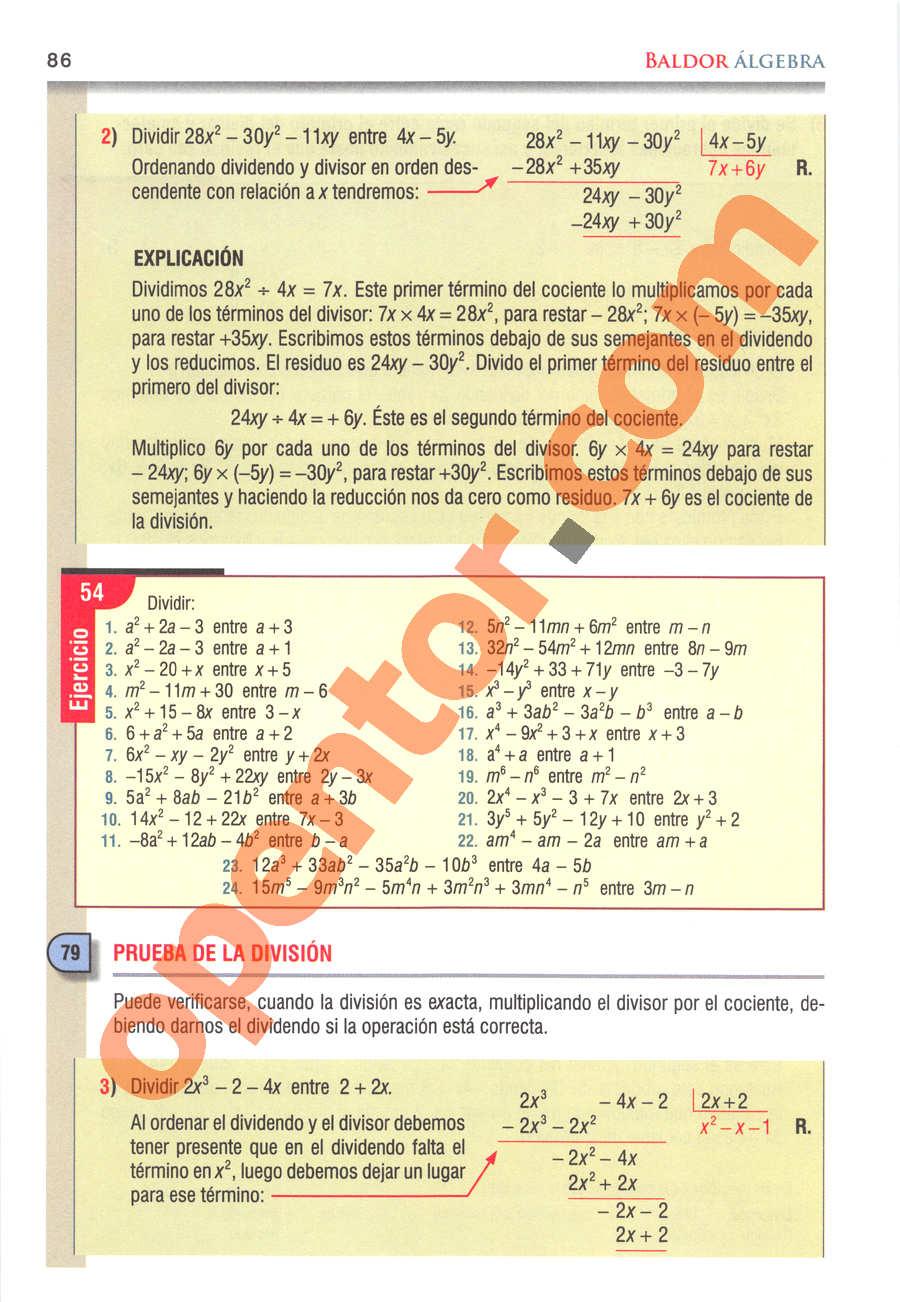 Álgebra de Baldor - Página 86