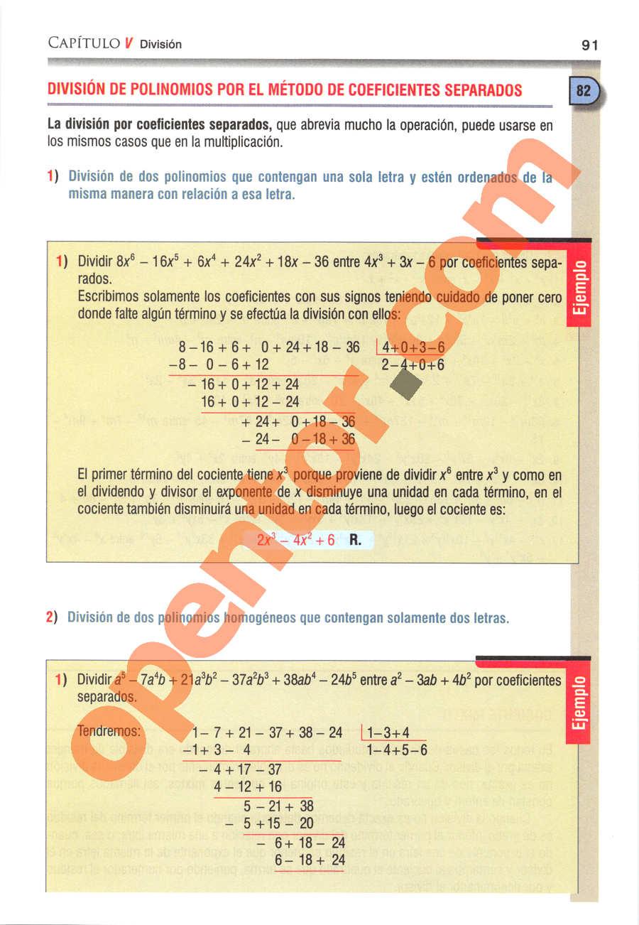 Álgebra de Baldor - Página 91