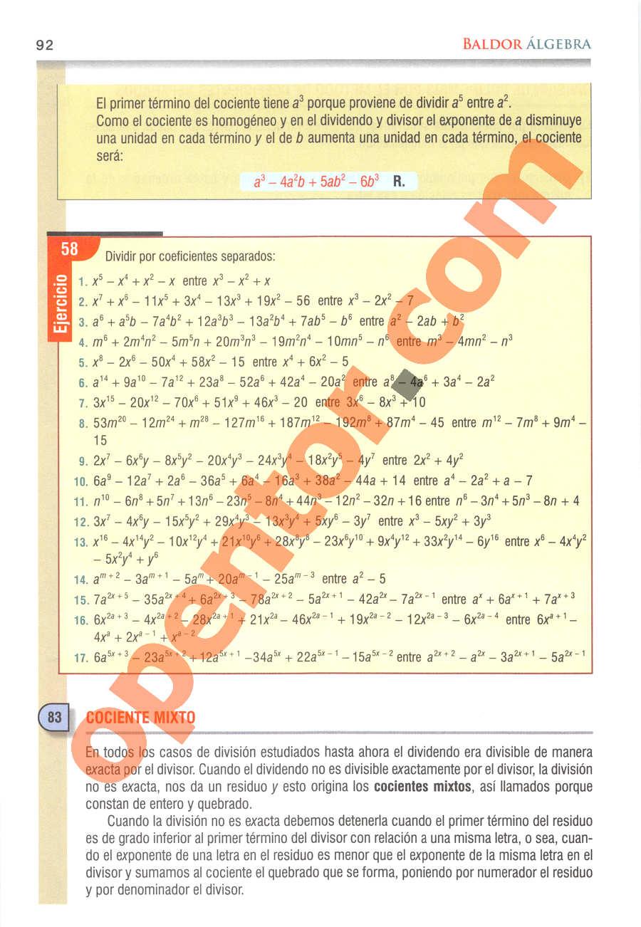Álgebra de Baldor - Página 92
