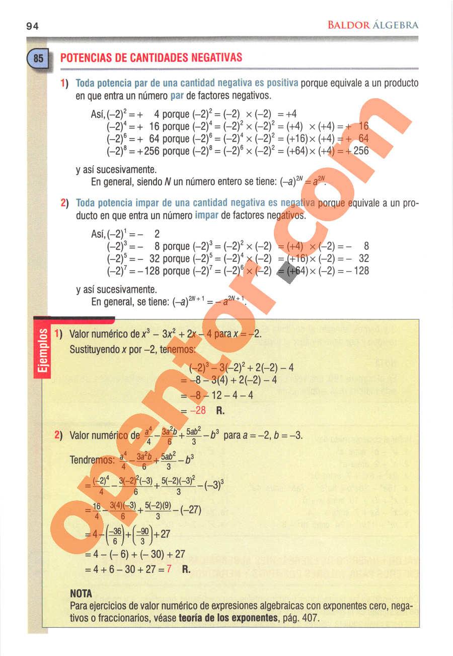 Álgebra de Baldor - Página 94