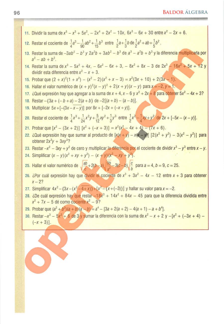 Álgebra de Baldor - Página 96