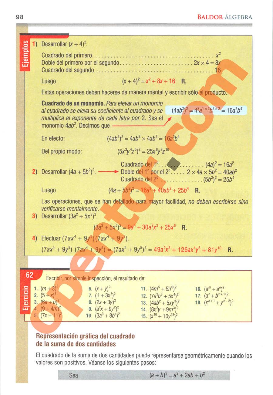 Álgebra de Baldor - Página 98