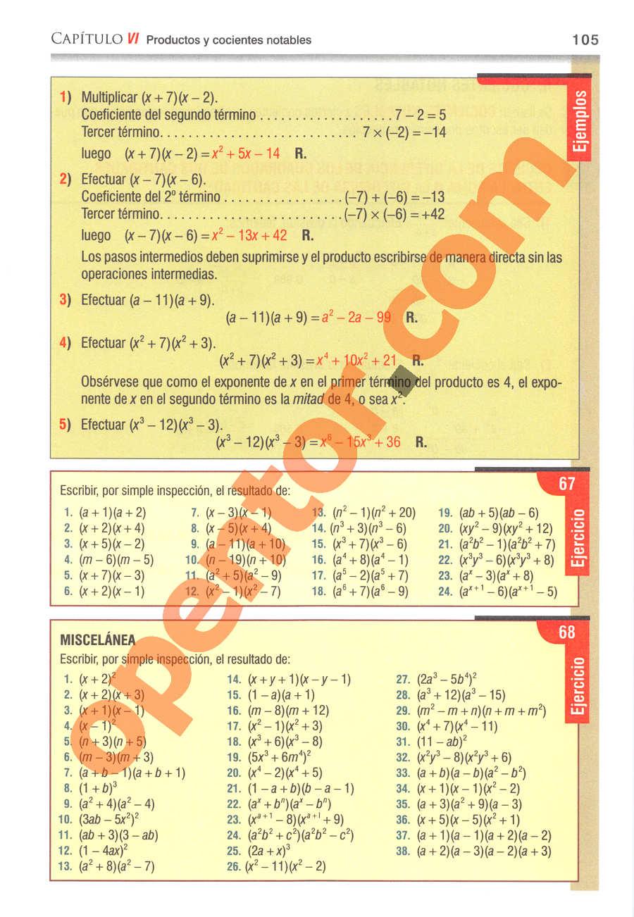 Álgebra de Baldor - Página 105