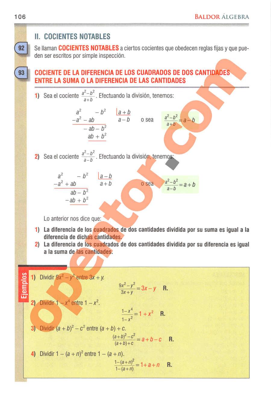 Álgebra de Baldor - Página 106