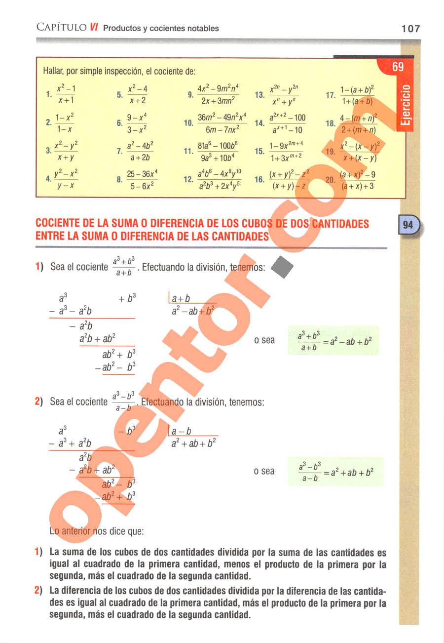 Álgebra de Baldor - Página 107