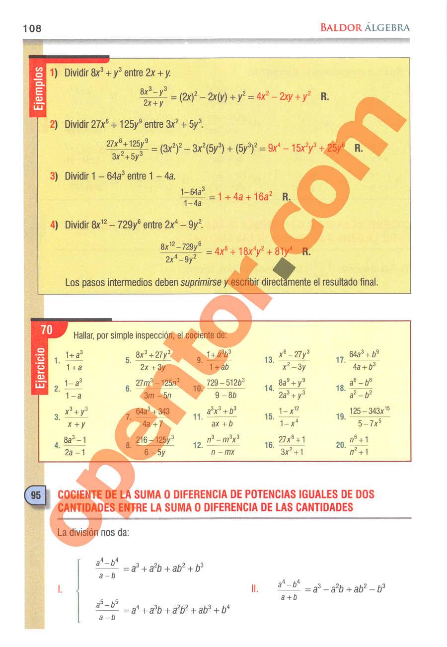 Álgebra de Baldor - Página 108