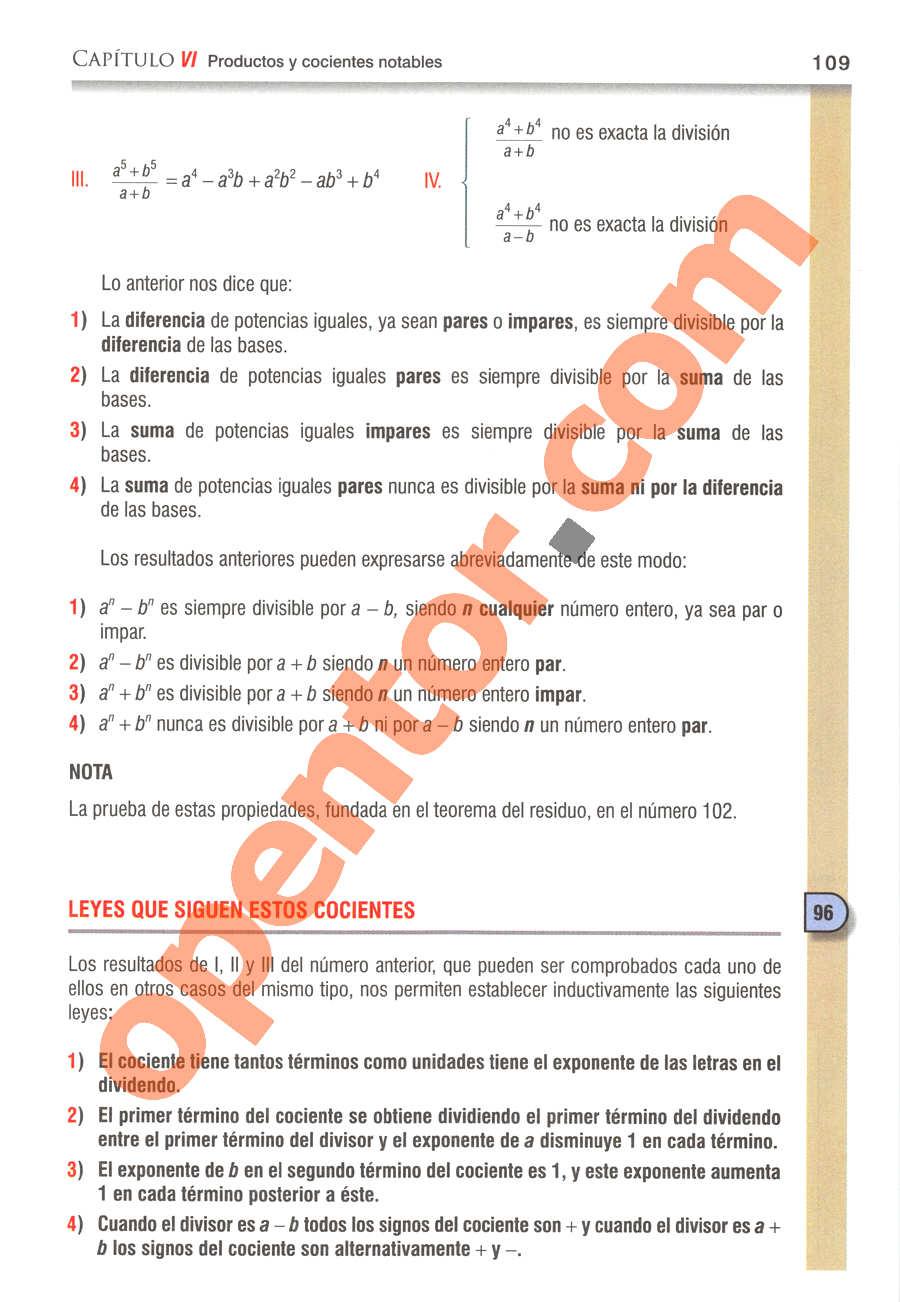 Álgebra de Baldor - Página 109