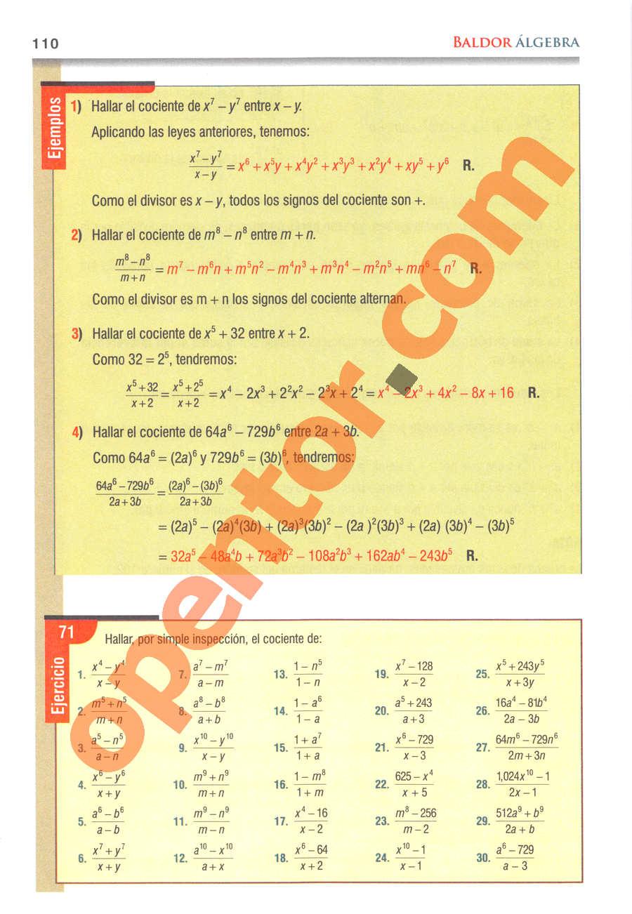 Álgebra de Baldor - Página 110