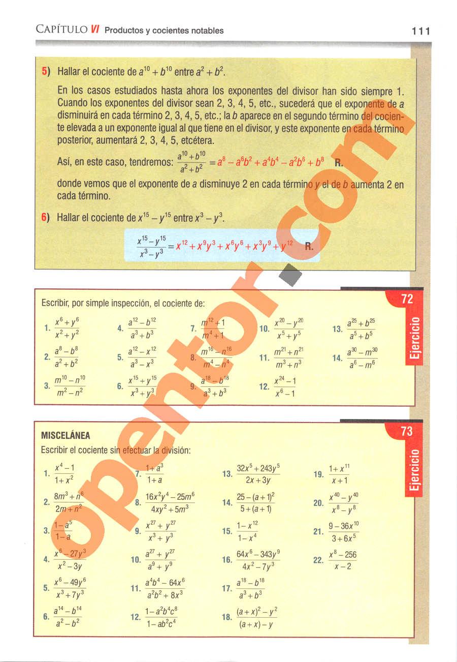 Álgebra de Baldor - Página 111