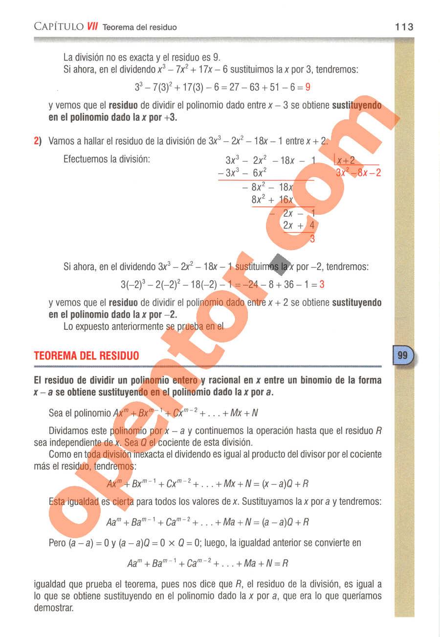 Álgebra de Baldor - Página 113