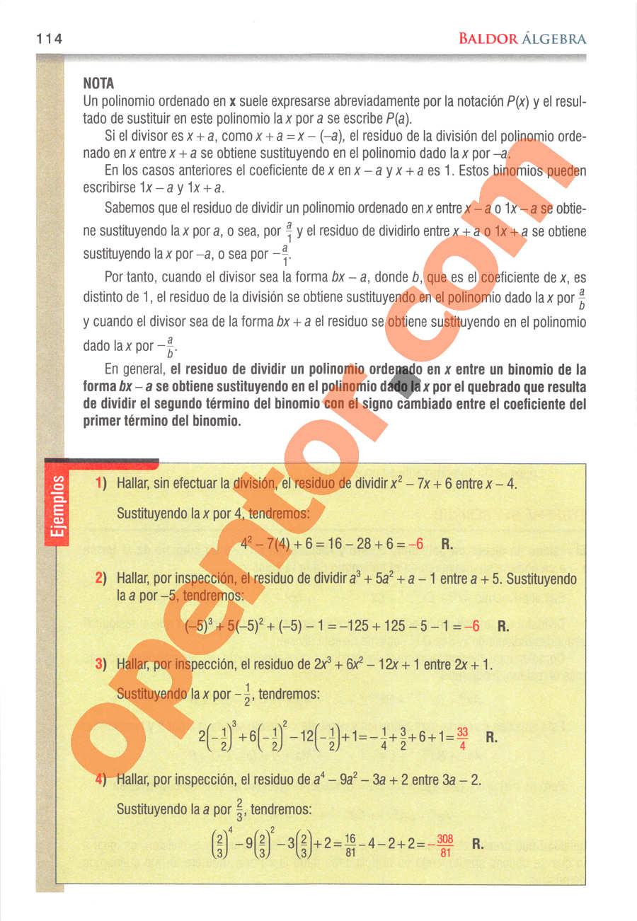 Álgebra de Baldor - Página 114