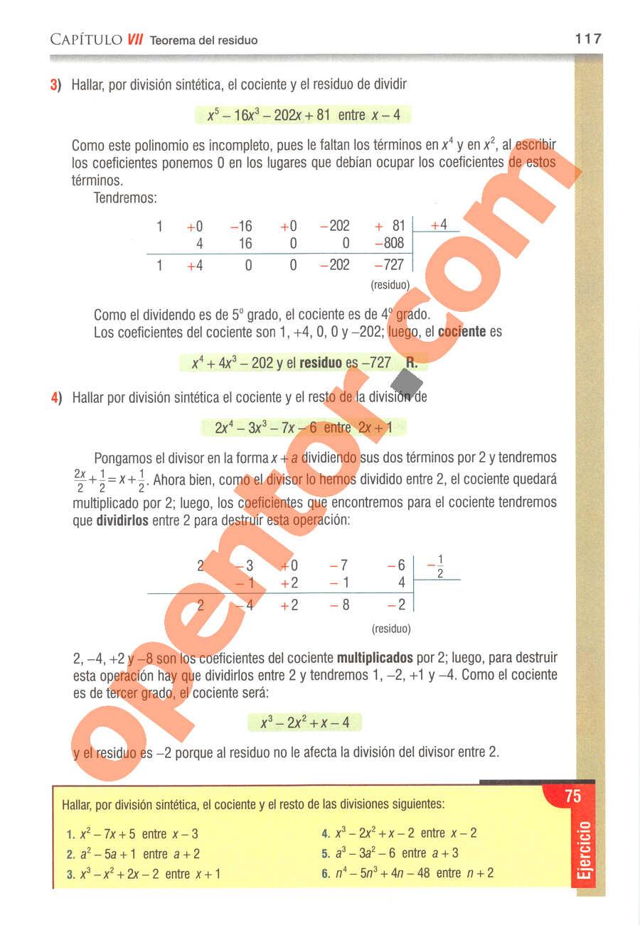 Álgebra de Baldor - Página 117
