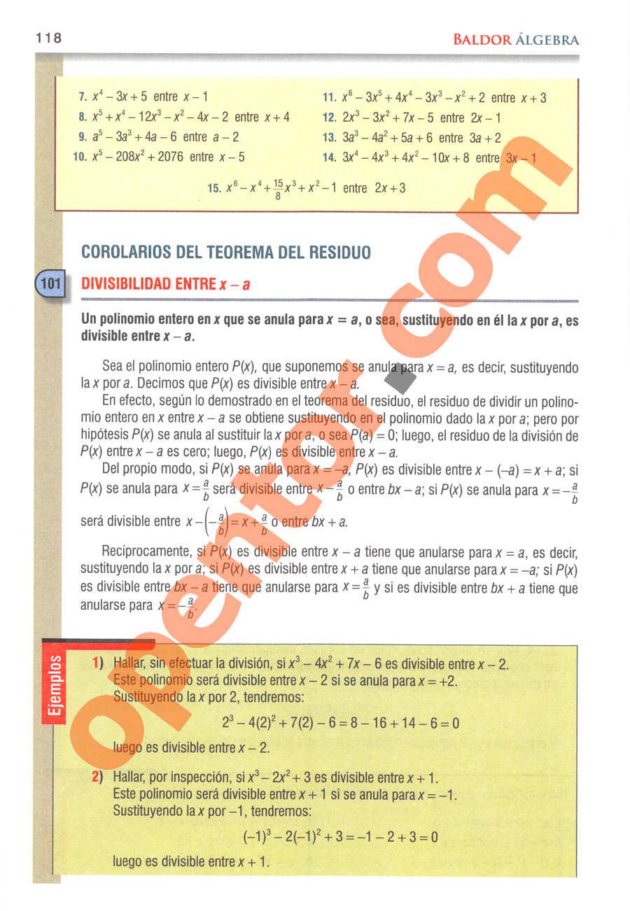 Álgebra de Baldor - Página 118