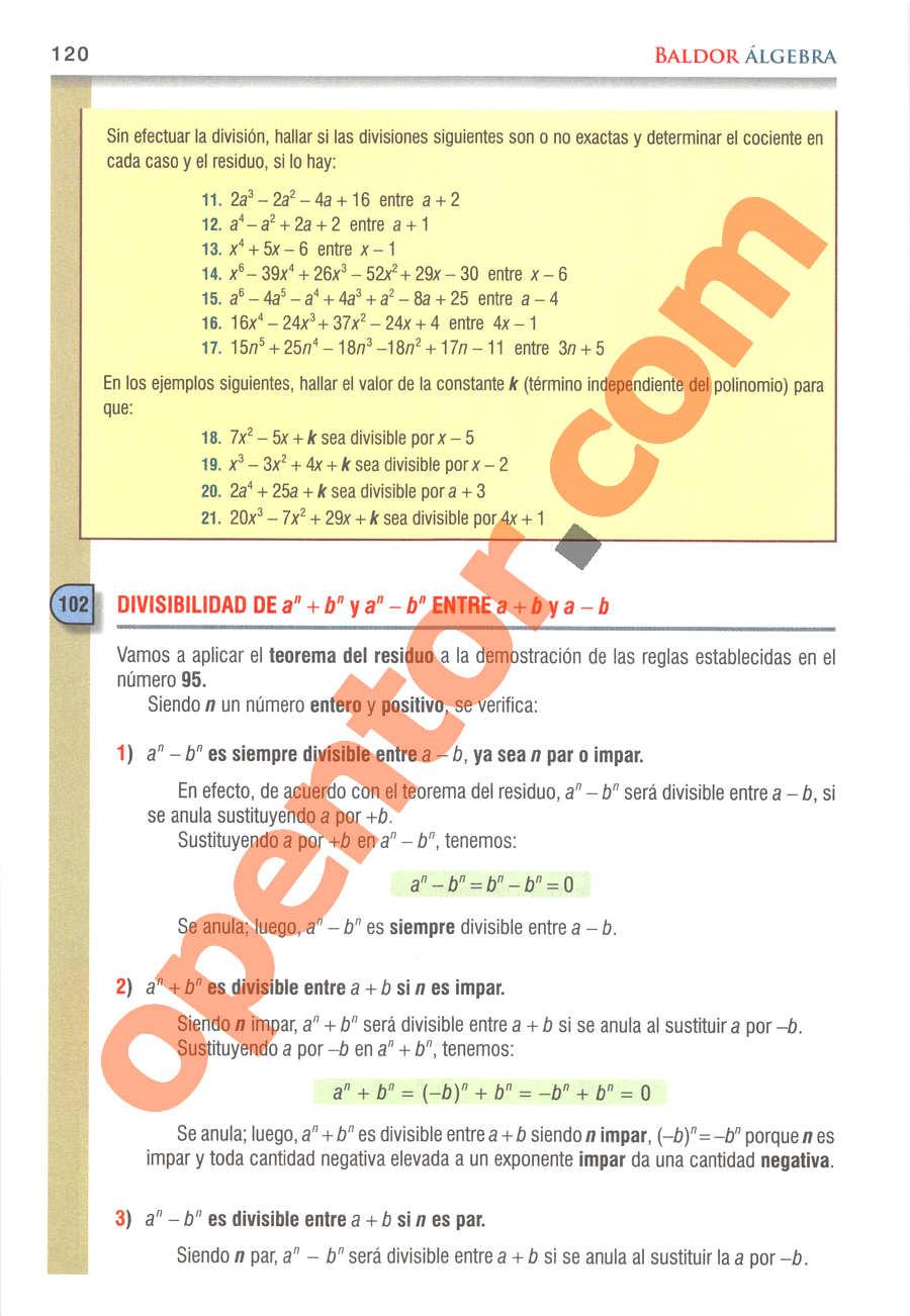 Álgebra de Baldor - Página 120