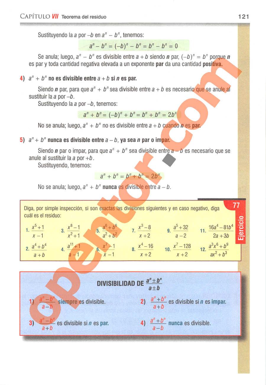 Álgebra de Baldor - Página 121
