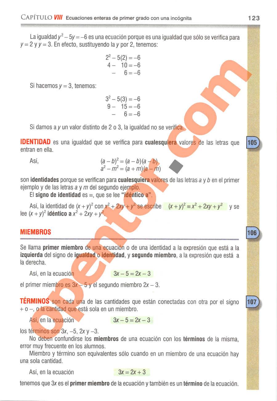 Álgebra de Baldor - Página 123