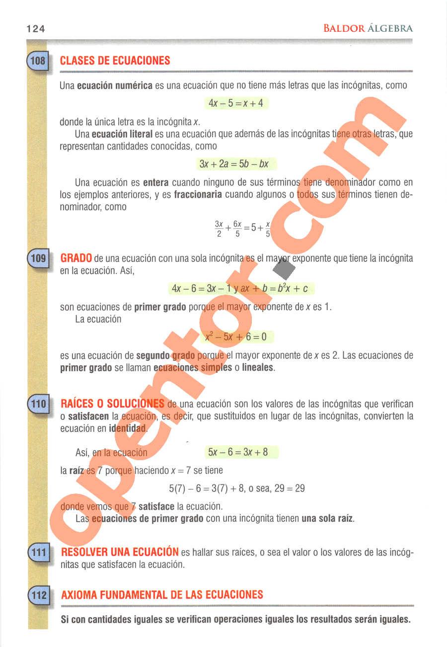 Álgebra de Baldor - Página 124