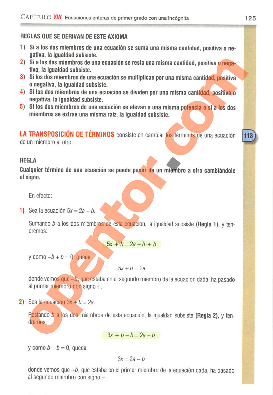 Álgebra de Baldor - Página 125