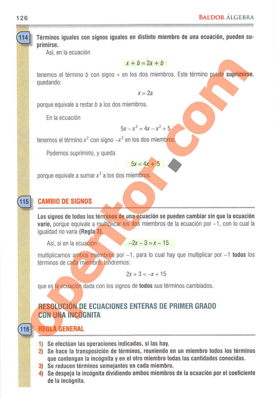 Álgebra de Baldor - Página 126