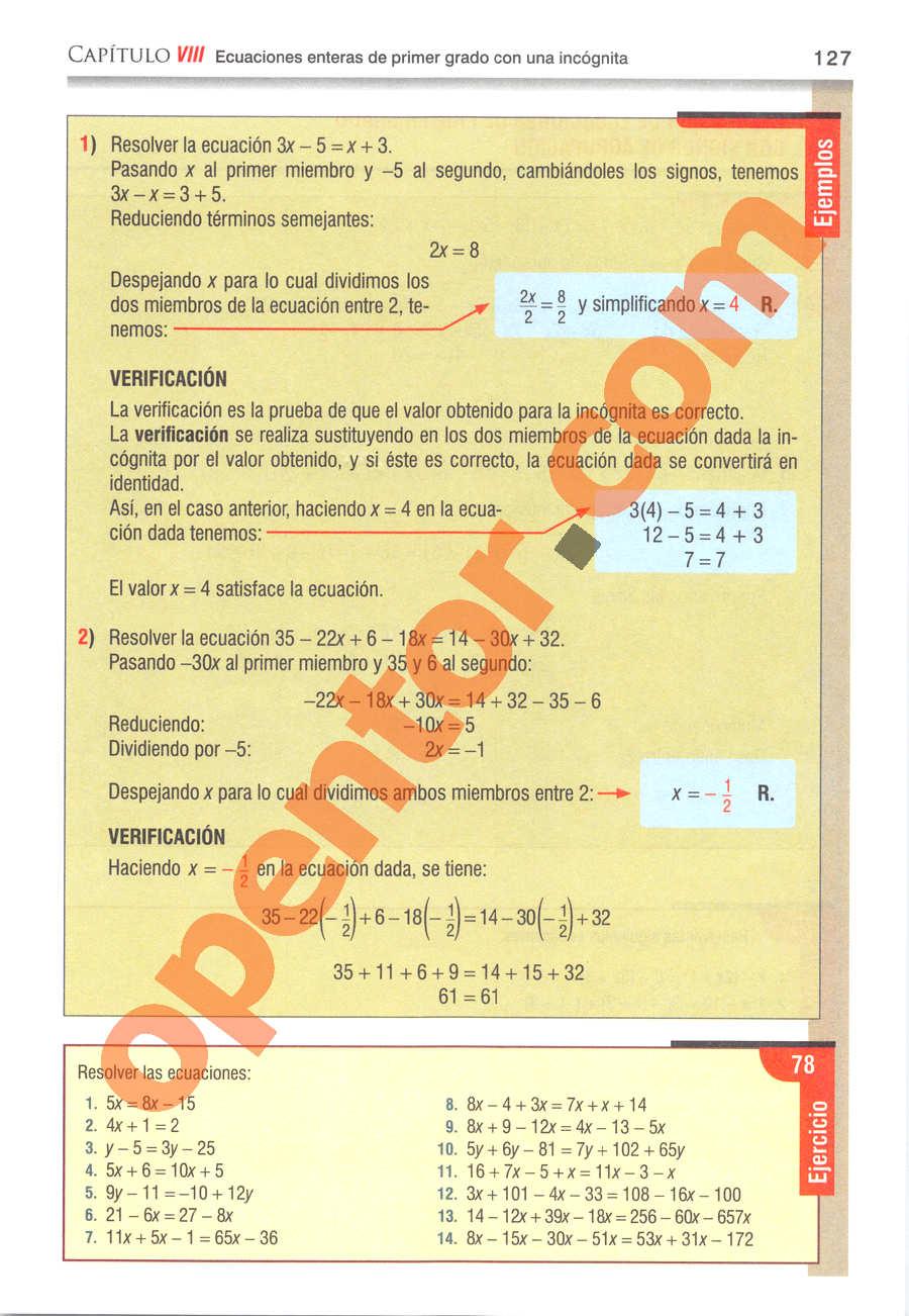 Álgebra de Baldor - Página 127