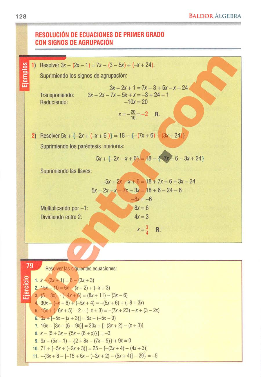 Álgebra de Baldor - Página 128